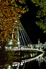 Ylistö Bridge at Night Lights (Markku Heikkilä Photography) Tags: bridge autumn fall leaves weather contrast finland season evening leaf europe seasons opposite bridges opposites contrasts climate autumnal jyvaskyla contrasting darkandlight westernfinland lansisuomenlaani