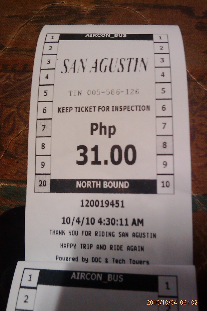 bus ticket: Mindanao Express XX