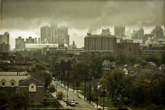 I try to say goodbye and I choke. (Mike Lanzetta) Tags: clouds downtown industrial body smoke detroit fisher choke rencen