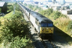Ayr Heathfield - 56049 - 13-09-1996 (agcthoms) Tags: scotland trains ayr railways ayrshire railfreight class56 transrail 56049