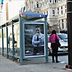 TV ad at a city bus stop (CarlaCarlaCarlaCarla) Tags: philadelphia publictransportation septa ae tonydanza