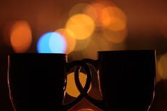 Make everything as simple as possible (Elios.k) Tags: city blue light house color reflection coffee silhouette horizontal lights warm dof tea bokeh nopeople mug getty items subgetty
