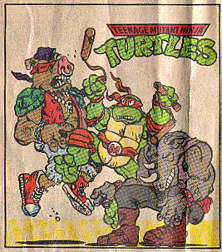 Teenage Mutant Ninja Turtles { newspaper strip } ..Mike v.Bebop & Rocksteady ..art by Lawson - isolated :: 07211991