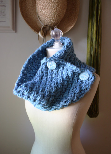 Phydeaux Twist Cowl Hand Knit in Sky Blue