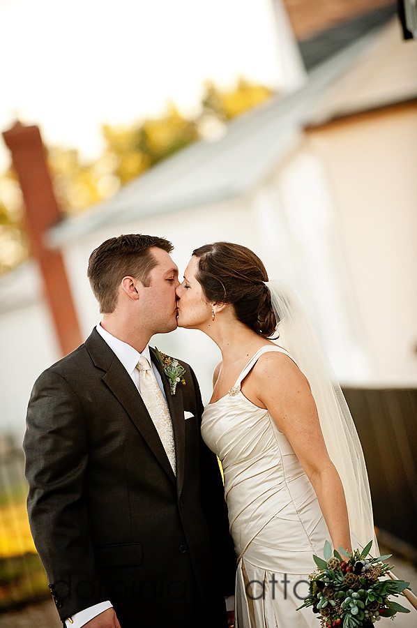 newly weds kissing