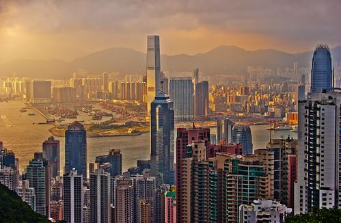 フリー写真素材|建築・建造物|都市・街|高層ビル|夕日・夕焼け・日没|中華人民共和国|香港|