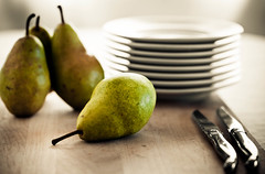 Still Life with Pears (Gourmande in the Kitchen) Tags: stilllife food fall fruit pears plates knives cuttingboard laguiole foodphotography ef100mmf28lisusmmacro freshanduncooked