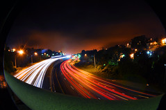 city bright (hep) Tags: sf sanfrancisco longexposure highway streetlights headlights fisheye freeway taillights
