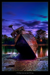 Shipwreck / HDR / Landscape / Pirate / Colors / Purple / Sky / Reflection / Richmond, BC / Decay / Kyle Bailey / Canon (Kyle Bailey - Da Big Cheeze) Tags: sky reflection river shipwreck beached sunk fishingboat fraserriver hdr pineleaf dawnpurple kylebailey rookiephoto dabigcheeze wwwrookiephotocom dpsdecay
