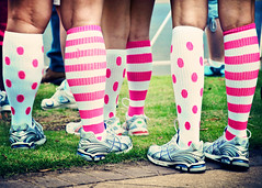 Race For the Cure! (eRachel11) Tags: socks race birmingham nikon october alabama 5k breastcancerawarenessmonth stripedsocks d90 polkadotsocks wormseyeviewsunday raceforthecure2010 sliderssunday