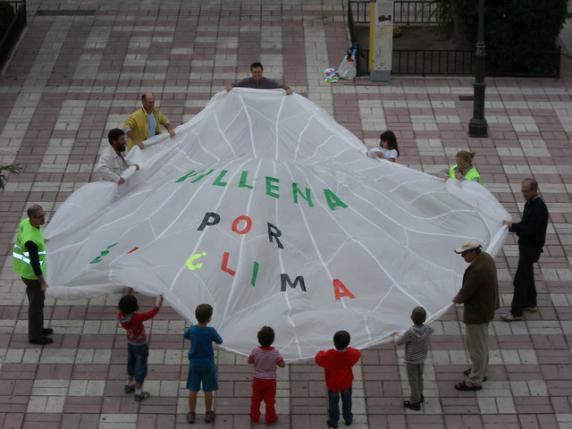 A parachute to climate safety In Villena, Spain local organisers painted a big parachute to symbolise the need to stop climate change - before we need the parachute.