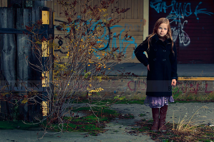 abandoned Railway platform child portrait