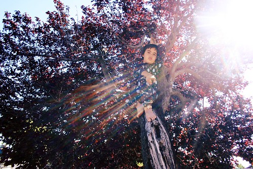 climbing trees in his pajamas