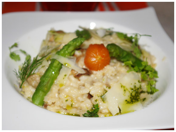 Asaparagus and mushroom risotto