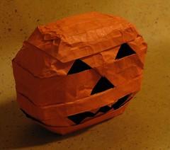 Jack O' Lantern 3-D (2/3) (mr.origami) Tags: original brown dan halloween pumpkin jack 3d model origami mr daniel models lantern olantern kareshi mrorigami