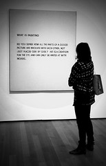 Art Message (Philip Ward) Tags: street new york nyc white black art female words women artist candid musuem 344 thedefiningtouch deftouch mobformat11decisivemoment