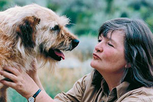 Faith Maloney, co-founder Best Friends Animal Society, with dog