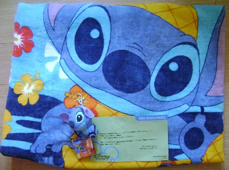 Stitch beach towel, Stitch keychain, Disney channel asia