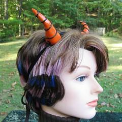 Orange and Black Halloween Dragon Horns