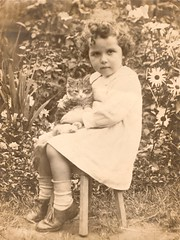Ruth and kitten (Abaraphobia) Tags: family flowers 1920s portrait england cute english girl childhood sepia cat vintage garden photo blackwhite thirties 1930s kitten child dress sweet britain snapshot adorable curls shy snap nostalgia nostalgic british ruth stool coy idyllic foundphoto watford smock foundimage twenties mreaife
