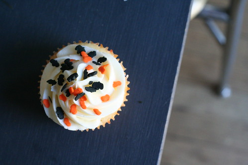 halloween sprinkles on cupcake