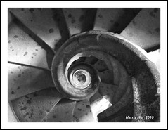 Spiral Stairs - Sagrada Familia Barcelona S0205e (Harris Hui (in search of light)) Tags: barcelona travel vacation canada abstract church nature lines vancouver walking spiral temple design blackwhite spain europe bc walk framed fineart arts shapes richmond gaudi fujifilm form digitalbw sagradafamilia mothernature pointshoot spiralstairs antonigaudi travelphotography framedpicture digitalcompact greatarchitect greatartist greatdesign s1600 fujis1600 greatarchitecture fineartbw churchofholyfamily harrishui vancouverdslrshooter sourceofinspirations unfinishedprojectofgaudi