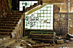 Kick Out The Jams (DetroitDerek Photography ( ALL RIGHTS RESERVED )) Tags: usa plant detail abandoned window stairs photoshop canon rebel graffiti october midwest industrial factory furniture decay michigan interior detroit couch bleak inside waste xs hdr mc5 blight packard 2010 urbex 313 motown 3xp