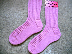 Finished pink socks