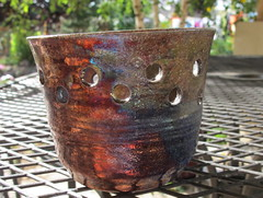 Close-up of my raku pot