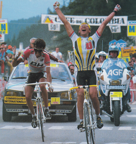 Laurent Fignon wins stage 21 of the 1987 Tour from Bourg d'Oisans to La Plagne. Stephen Roche is pictured behind him. Photo: Numerius