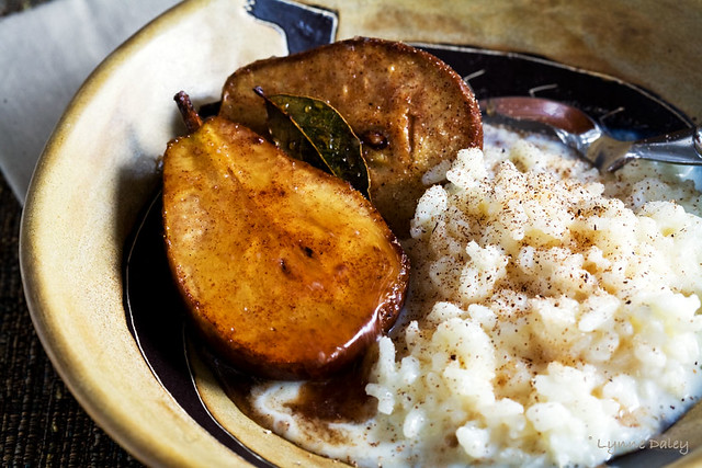 Cider Baked Pears With Rice Pudding