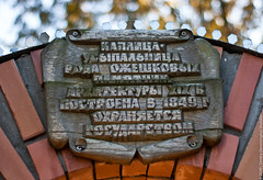 The Zakoziel Park Entrance (lemmingby) Tags: wood signs wooden travels bokeh text details bricks trips belarus plaques brestregion otherwheres zakoziel