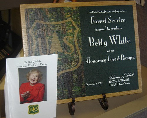 This is the Honorary Ranger certificate that was presented to actress Betty White November 9 at the Kennedy Center for the Performing Arts, fulfilling a childhood dream the actress expressed several months ago. (US Forest Service photo by Phil Sammon)