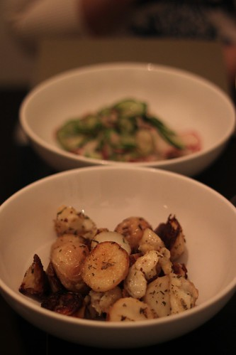 rosemary & duck fat roasted potatoes and radish and cucumber slaw