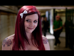 Krystina. 95-100 (Andy. H) Tags: street red portrait haven girl beautiful smile tattoo 35mm hair fun haze eyes nikon focus pretty bokeh streetportrait melbourne tunnel stranger piercing yarra flinders krystina 105mm druggy d90 35mmf18 100strangers