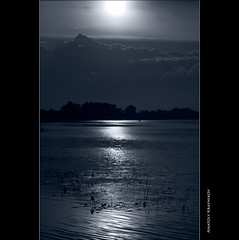 Moonlit Oka-river |     (Anatoly Kraynikov) Tags: sky moon reflection water night clouds river russia moonlit reflexions          oke blackwhitephotos
