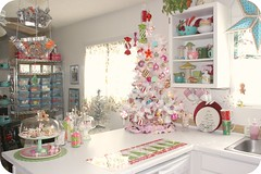 christmas kitchen counter (Pinks & Needles (used to be Gigi & Big Red)) Tags: california ca morning light white window mushroom kitchen glass colors cake star mugs cupcakes colorful cookie candy sink decoration gingerbread storage polkadots ornament dishes tongs apothecary decor bowls pitcher creamer jars anthropology gumballs organize cookiecutters gigiminor gigibigred