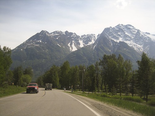 driving on Old Glenn Highway towards the mountains