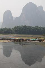 Li River reflecting Karst mountains in Xingping, Guangxi, China (inchiki tour) Tags: china travel mountain river photo village yangshuo   guangxi        xingping