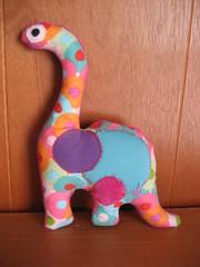 stuffed dinosaur side 1 (jcbonbon) Tags: baby home girl animal stuffed dinosaur sew fabric cotton gift applique ec thrifted