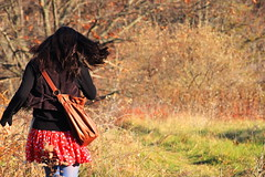 (alexs1214) Tags: autumn trees red orange cold color fall girl grass leaves leather yellow hair bag dead wind tan skirt blow jacket change shoulder sweep bluetights alexs1214