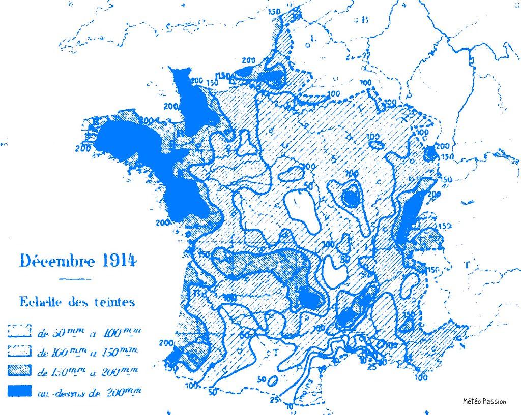 précipitations mensuelles en France en décembre 1914