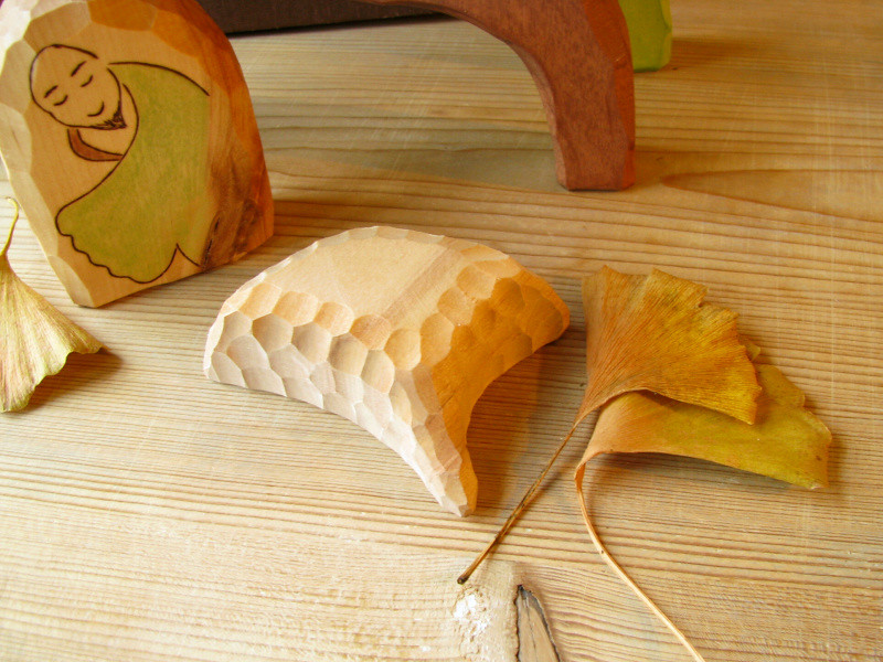 Gingko tree spirit - stacker and bowl - Ooak wooden carved toy or decoration