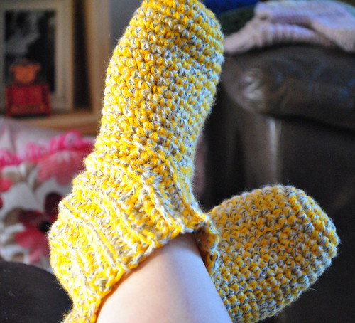 Yellow slipper socks