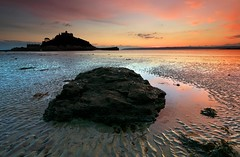 "Red Sky at Night - A wonderful, if not a little cold, early evening at St.Michael's Mount. A long beach and only me and one other person walking their dog on it....mind you the pub looked full!  Canon 5D/17-40mm/Lee 0.9 hard grad.  Looks better if you please <a href=""http://bighugelabs.com/onblack.php?id=5221648818&size=large"" rel=""nofollow"">View On Black</a>"