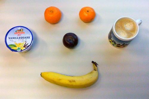 Vanillequark, Clementinen, Pflaume & Banane