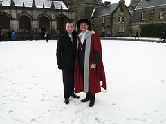 Brad and Aaron with Chapel - Chapel at St Salvator's quadrangle