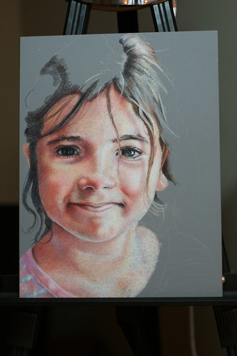 In progress colored pencil drawing of my daughter.