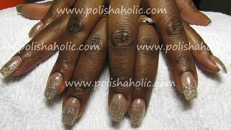 Gel nails with gold glitter