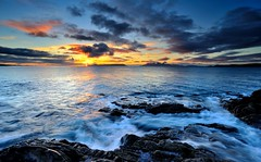 Looking out to Isle of Eigg, Rhum Island and the Isle of Skye. (Mark A Jones (Andreas Jones Photography)) Tags: sunset sea seascape clouds coast scotland nikon rocks isleofskye mallaig lee09gnd d700